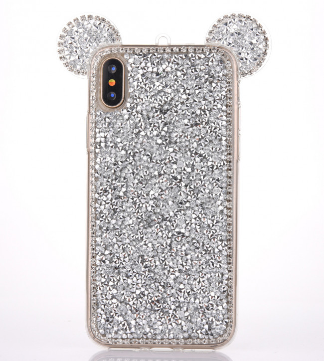 brand new 1bf2d 88b9f iPhone X XS Bling Mouse Ears Case