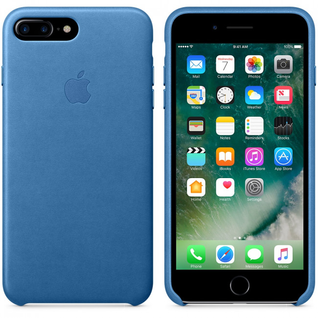 huge discount 3df46 33464 Leather Case for Apple iPhone 7 / 8 Plus Sea Blue