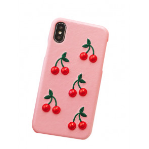 Cherry Faux Leather iPhone X Case