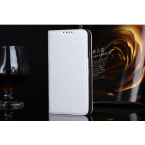 Real Premium Leather Wallet Folio Galaxy S5 Case and Stand White
