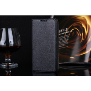 Real Premium Leather Wallet Folio Galaxy S5 Case and Stand Black